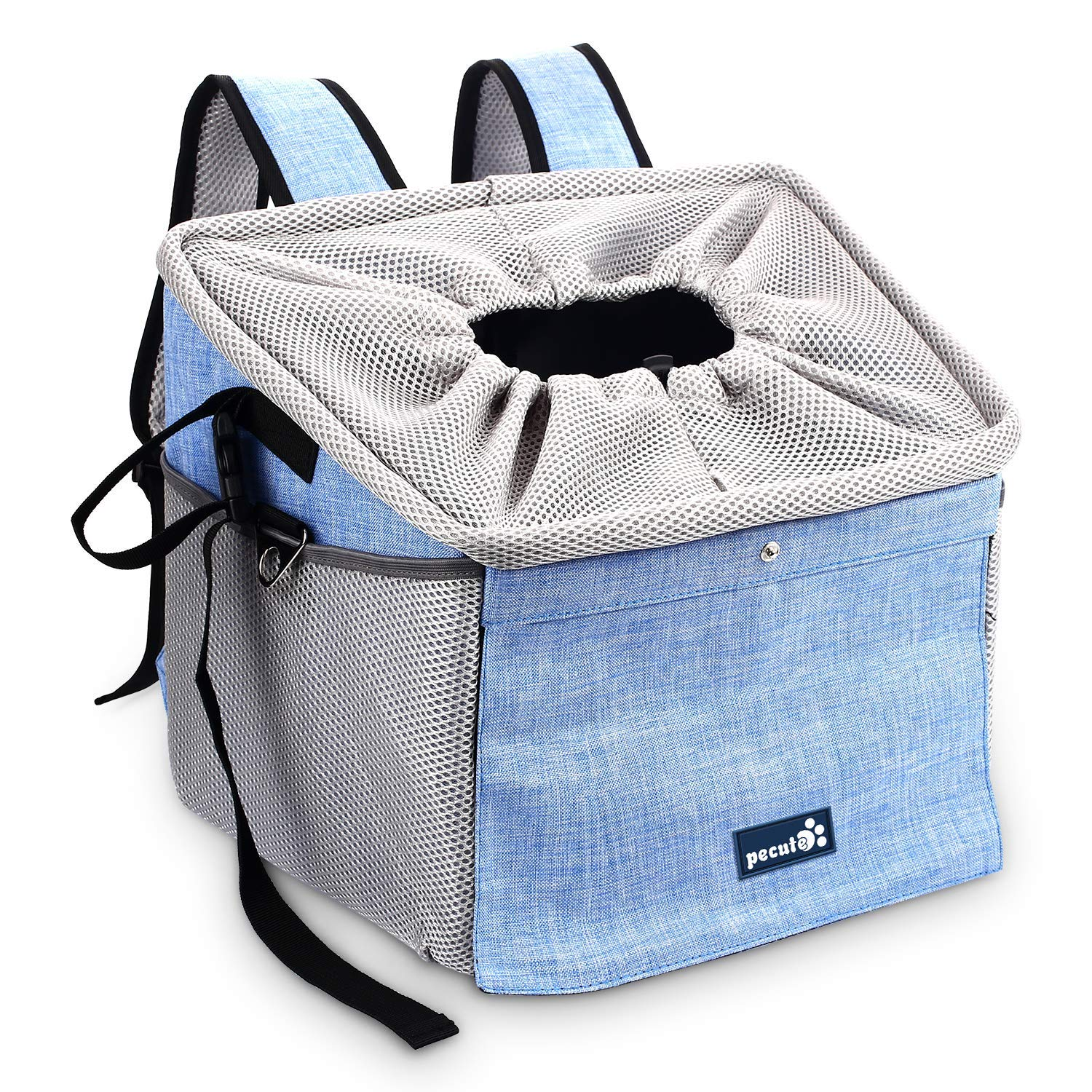 Pecute Dog Bike Basket Pet Carrier Bicycle, Dog Booster Car Seat Pet Booster Seat with 2 Big Side Pockets, Comfy & Padded Shoulder Strap, Portable Breathable Pet Carrier, Travel with Your Pet by Pecute