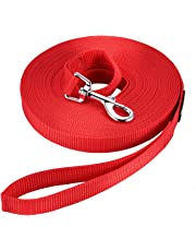 Dog Training Lead Long Rope Cotton Nylon Webbing Recall Obedience Line Leash for Pet (10m/33ft, Red)