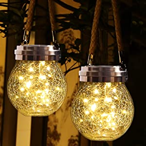 ROSHWEY Hanging Solar Lantern 2 Pack 30 LED Crackled Glass Ball Decorative Outdoor Solar Lights, Warm White Waterproof Solar Powered Lanterns with Handle for Garden Yard Patio Lawn