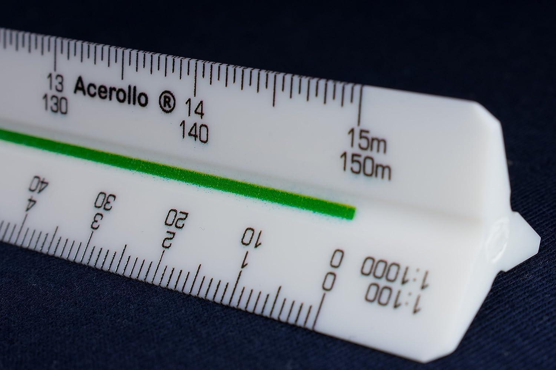 Black Professional 30cm 12 Metric Plastic Triangular Scale Ruler 1:20 1:25 1:50 1:100 1:125 1:150//1:200 1:500 1:1000 1:1250 1:1500 1:2500 in a Case