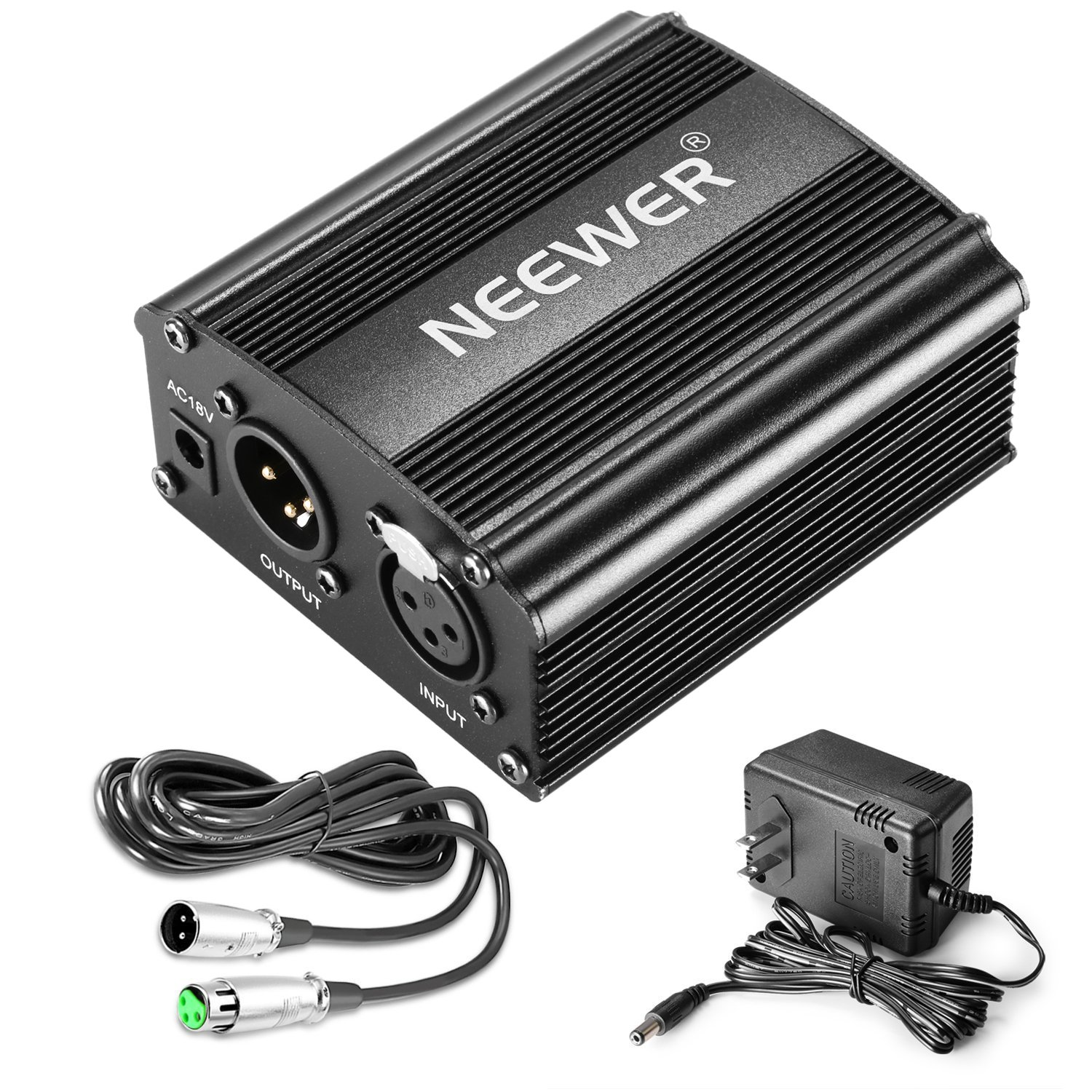 Neewer 1-Channel 48V Phantom Power Supply with Adapter, BONUS+XLR 3 Pin Microphone Cable for Any Condenser Microphone Music Recording Equipment (8 feet) by Neewer