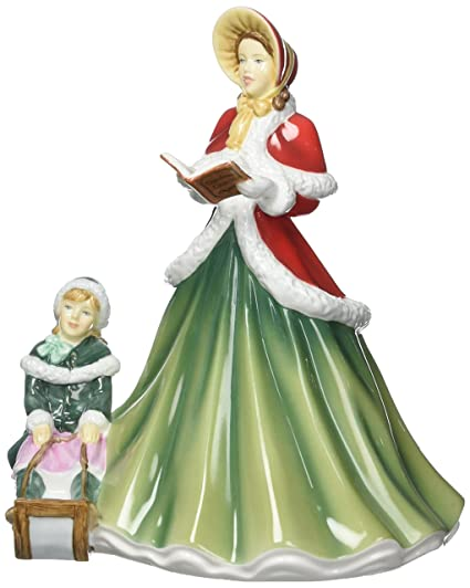Christmas Carol Singers Figurines.Royal Doulton Carol Singers I Heard The Bells On Christmas Day Figurine Fine Bone China Multi Colour 16 5 X 15 3 X 18 7 Cm 16 5