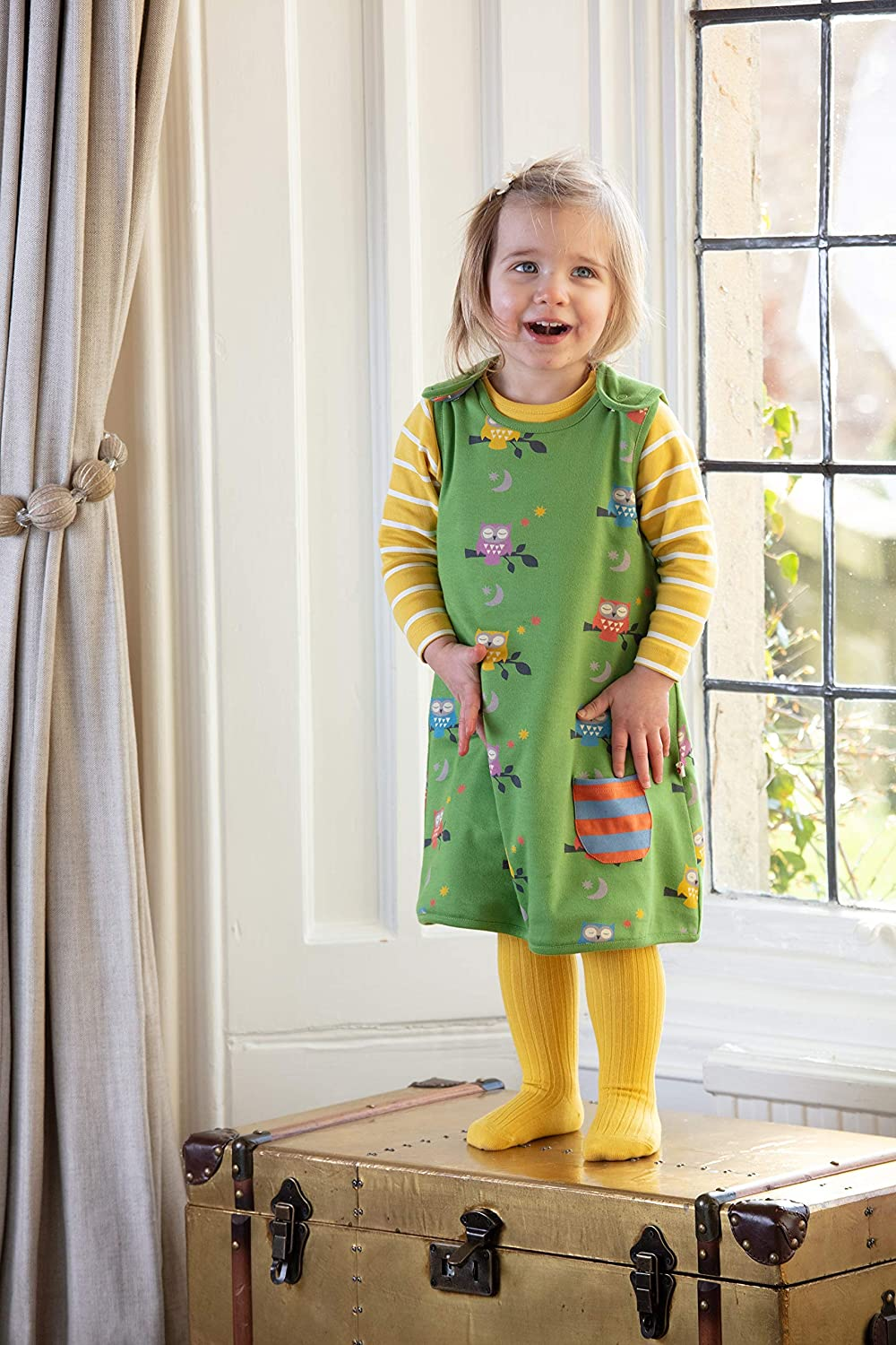 Piccalilly Childrens Reversible Dress Green Midnight Owl Print with Stripes Soft Organic Jersey