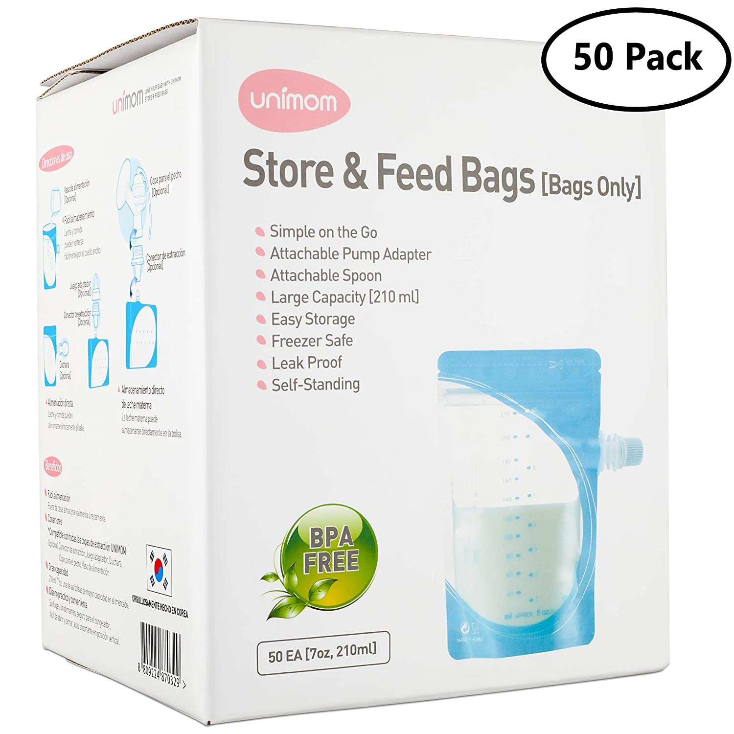 50 Breast Milk and Food Storage Bags - Breast Shield Adapter to Pump Directly into Bag - Freezer...
