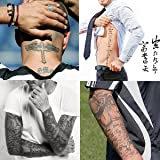 Kotbs 4 Sheets Mix Similar Beckham Neck Arm Body Tattoo Sticker Make up for Men Temporary Tattoos Paper Transfer Fake Tattoo