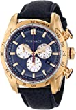 Versace Men's VDB030014 V-Ray Rose Gold-Tone Watch With Blue Leather Strap