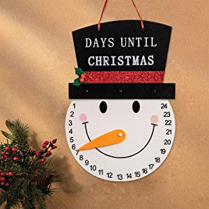YEAHOME Snowman Advent Calendar 2020, 13.5inches Days Until Christmas Countdown Indoor/Outdoor Hanging Sign Christmas Decoration, Wall Decor