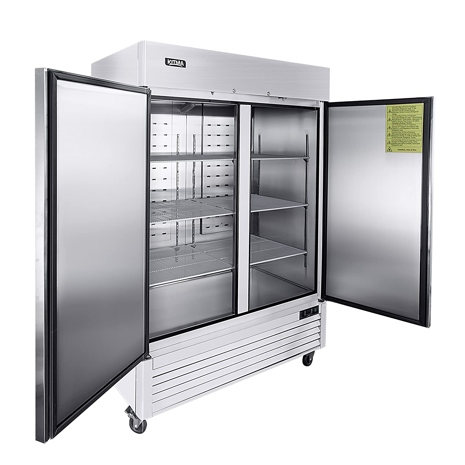 "54"" Two Section Solid Door Reach-in Commercial Refrigerator - KITMA 49 cu. ft Side by Side Stainless Steel Upright Fridge for Restaurant"
