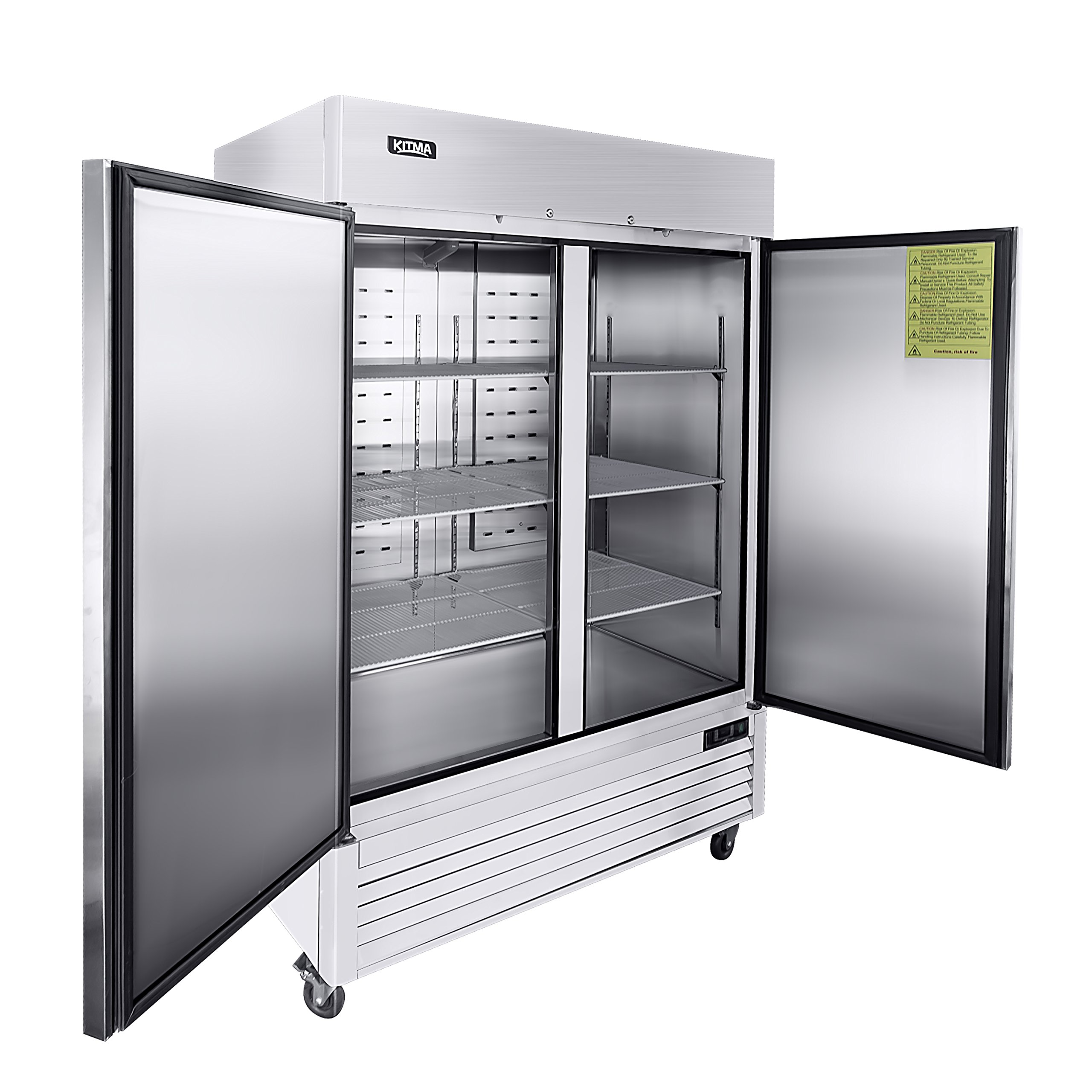 54'' Two Section Solid Door Reach-in Commercial Refrigerator - KITMA 49 cu. ft Side by Side Stainless Steel Upright Fridge for Restaurant by KITMA