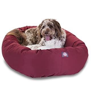 52 inch Burgundy & Sherpa Bagel Dog Bed By Majestic Pet Products