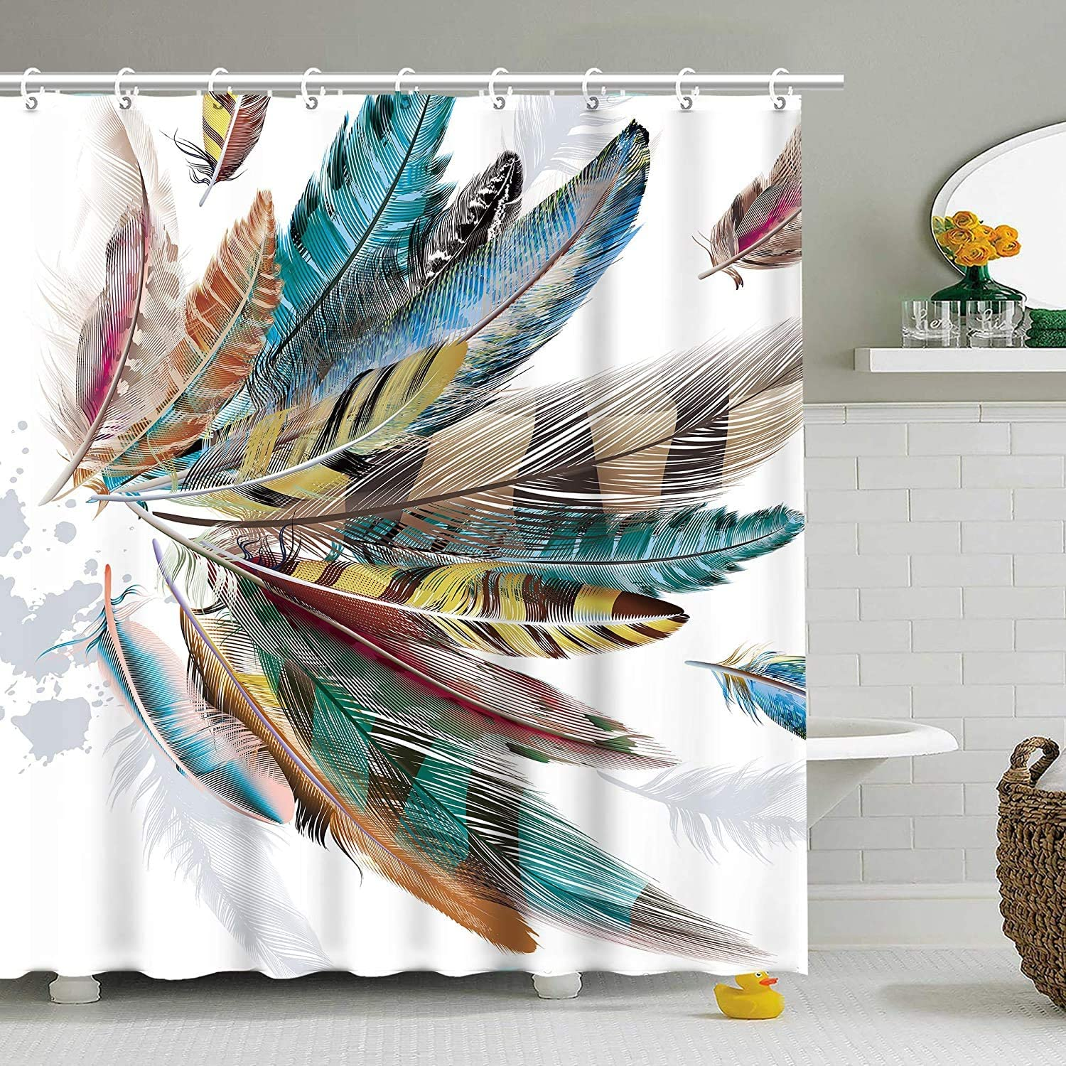 Stacy Fay Bird Feather Shower Curtain Teal Brown Shower Curtain Animal Feather Shower Curtain with Hooks Colorful Feather Shower Curtain Bathroom Bird Feather 72x84 Inches Teal Brown