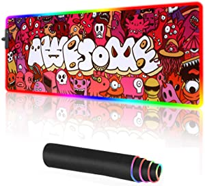 Graffiti Anime Mouse Pad RGB Gaming Mouse pad Extended Large Computer Keyboard Mousepad Mouse Mat Office Mousepad for Laptop, Computer & PC (A-LED)