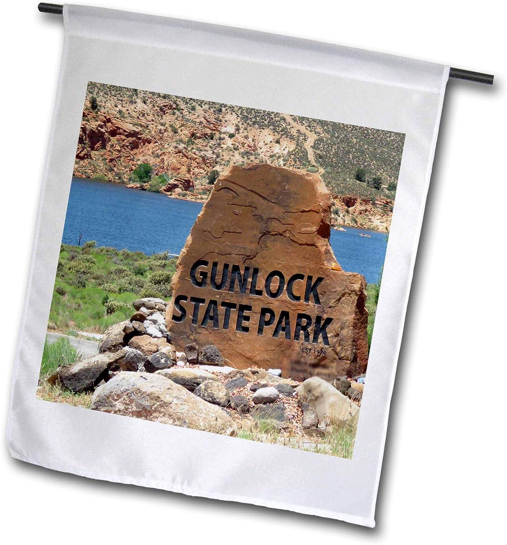 3dRose Jos Fauxtographee- Gunlock State Park - The Gunlock State Park Sign on a Boulder Done by a boy Scout - 18 x 27 inch Garden Flag (fl_321956_2)