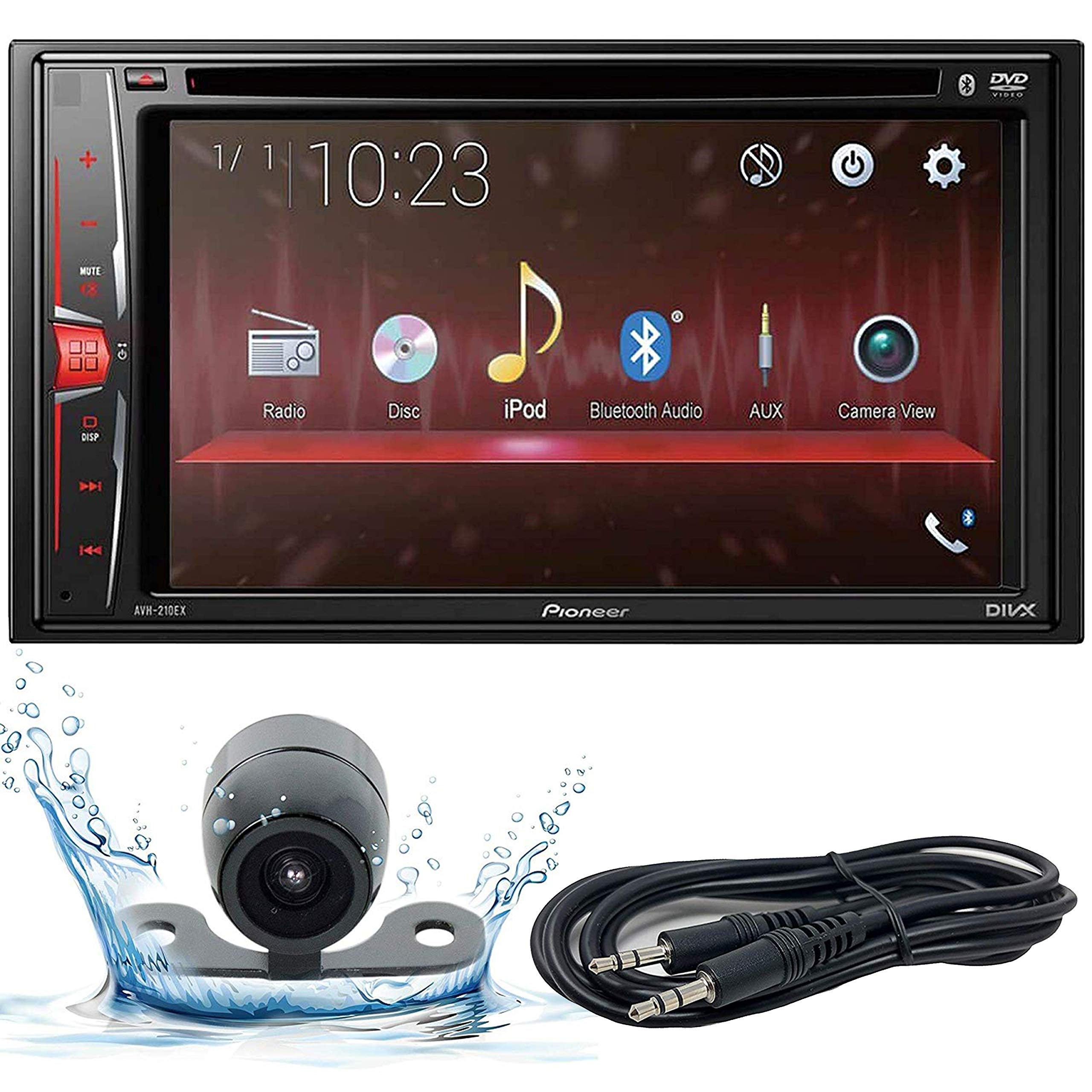 Pioneer AVH-210EX 6.2'' WVGA Display Multimedia DVD Receiver, and Built-in Bluetooth with Backup Camera and EMB 3.5mm Aux Cable Included by PIONEER