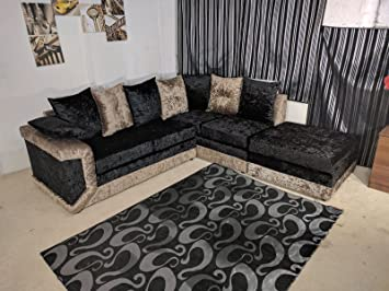 Phenomenal Large Dino Lh Rh Corner Sofa In Crushed Velvet Black Gold Pabps2019 Chair Design Images Pabps2019Com