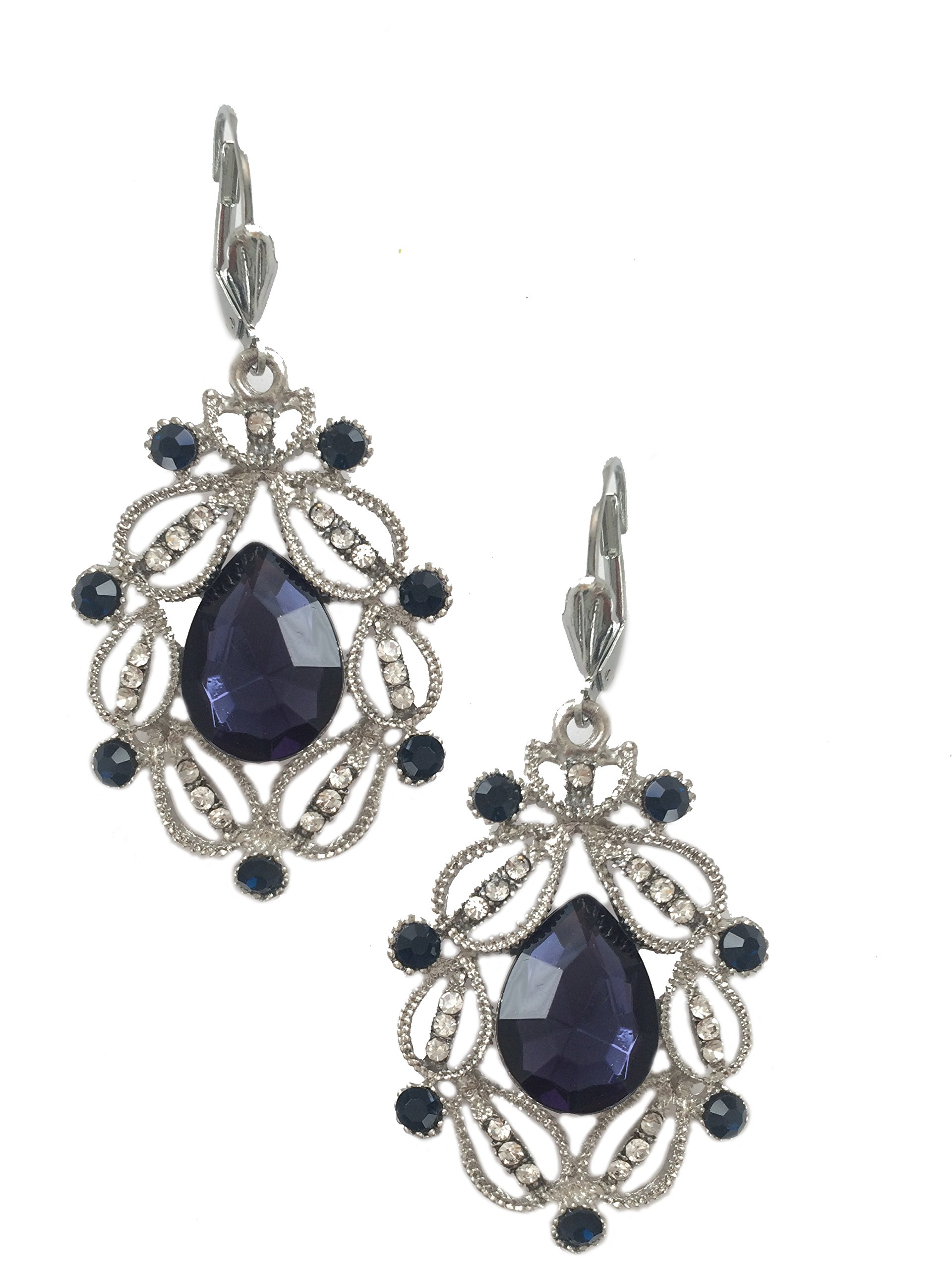 Silver Tone Art Deco Antique Vintage Style Blue Sapphire Rhinestone Filigree Dangle Earrings