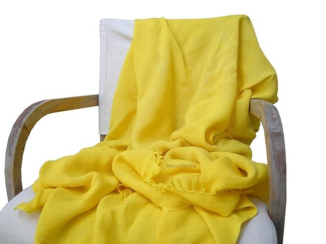 Manta decorativa amarilla Canario Plaid suave para sofá y cama. Manta de tejido natural de