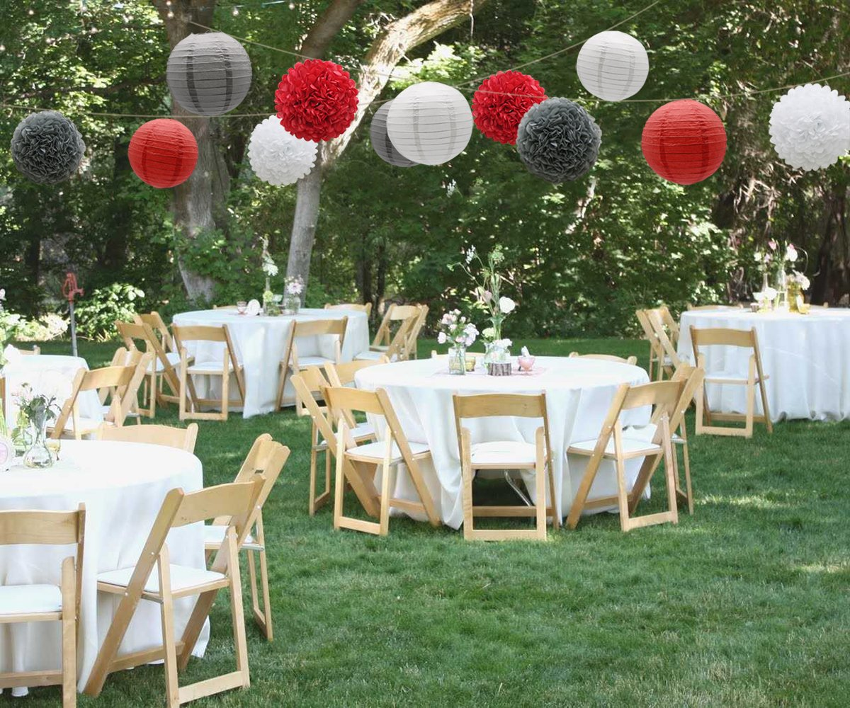 15pcs Red Gray White Paper Flowers Pom Poms Balls and Paper Lanterns for Wedding Birthday Bridal Baby Shower Graduation KAXIXI Hanging Party Decorations Set
