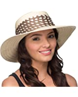 Womens Summer Sun Boater Hat with Stylish Scarf Trim
