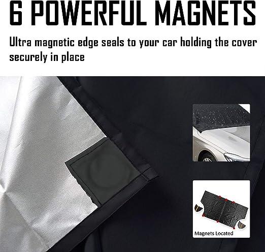 220 x 130 cm magn/ética Cubierta para parabrisas delantero de invierno con im/án para coches grandes y peque/ños