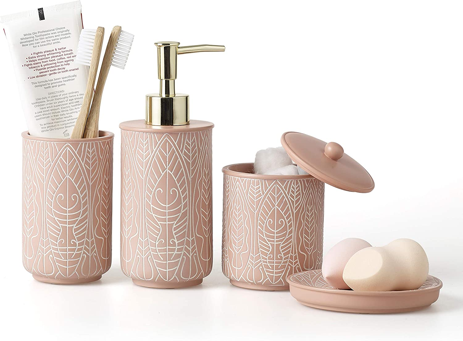 VIRTUNE Premium Pastel Pink Bathroom Accessory Set. Home and Apartment Essentials Including Hand Pump Soap Dispenser, Soap Dish, Toothbrush Holder, and Tumbler Cup. Modern Bathroom Decor