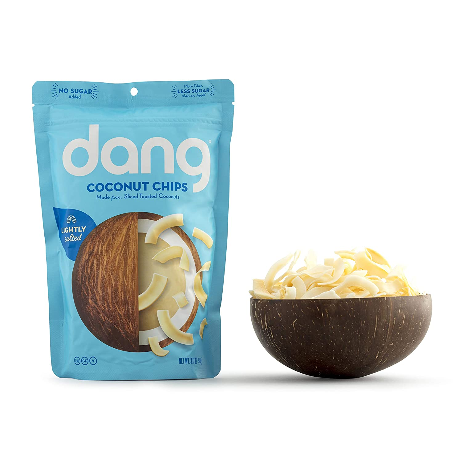 Dang Keto Toasted Coconut Chips  Lightly Salted Unsweetened 1 Pack  Keto Certified, Vegan, Gluten Free, Paleo Friendly, Non GMO, Unsweetened Healthy Snacks Made with Whole Foods 3.17Oz Resealable Bags