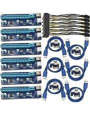 Fueran 6-pack PCIe Ver 006C 16x A 1x Powered riser scheda adattatore W/60cm cavo prolunga USB 3.0& pin PCI-E to SATA power cable–GPU riser Adapter