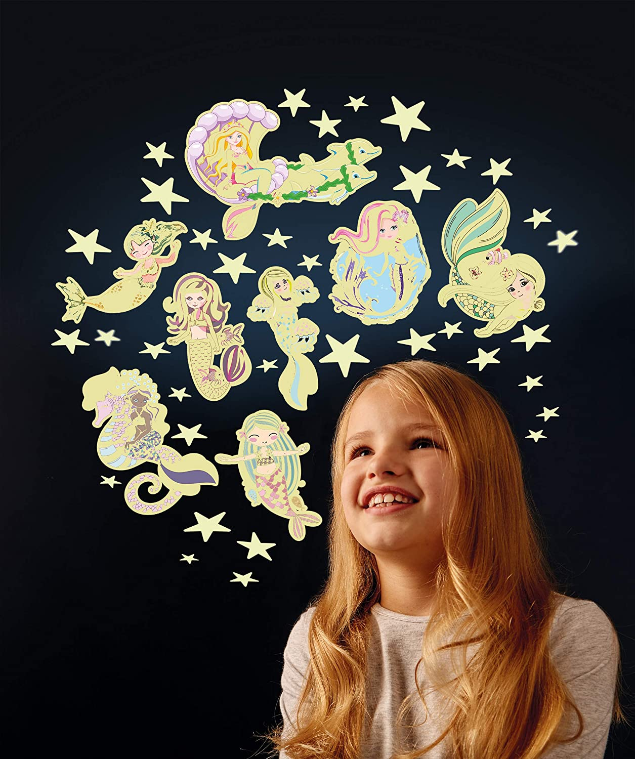 Glow in The Dark The Original Glowstars Mermaids and Glitter Stars Glow-in-The-Dark Set Designed for Children Ages 3 Years
