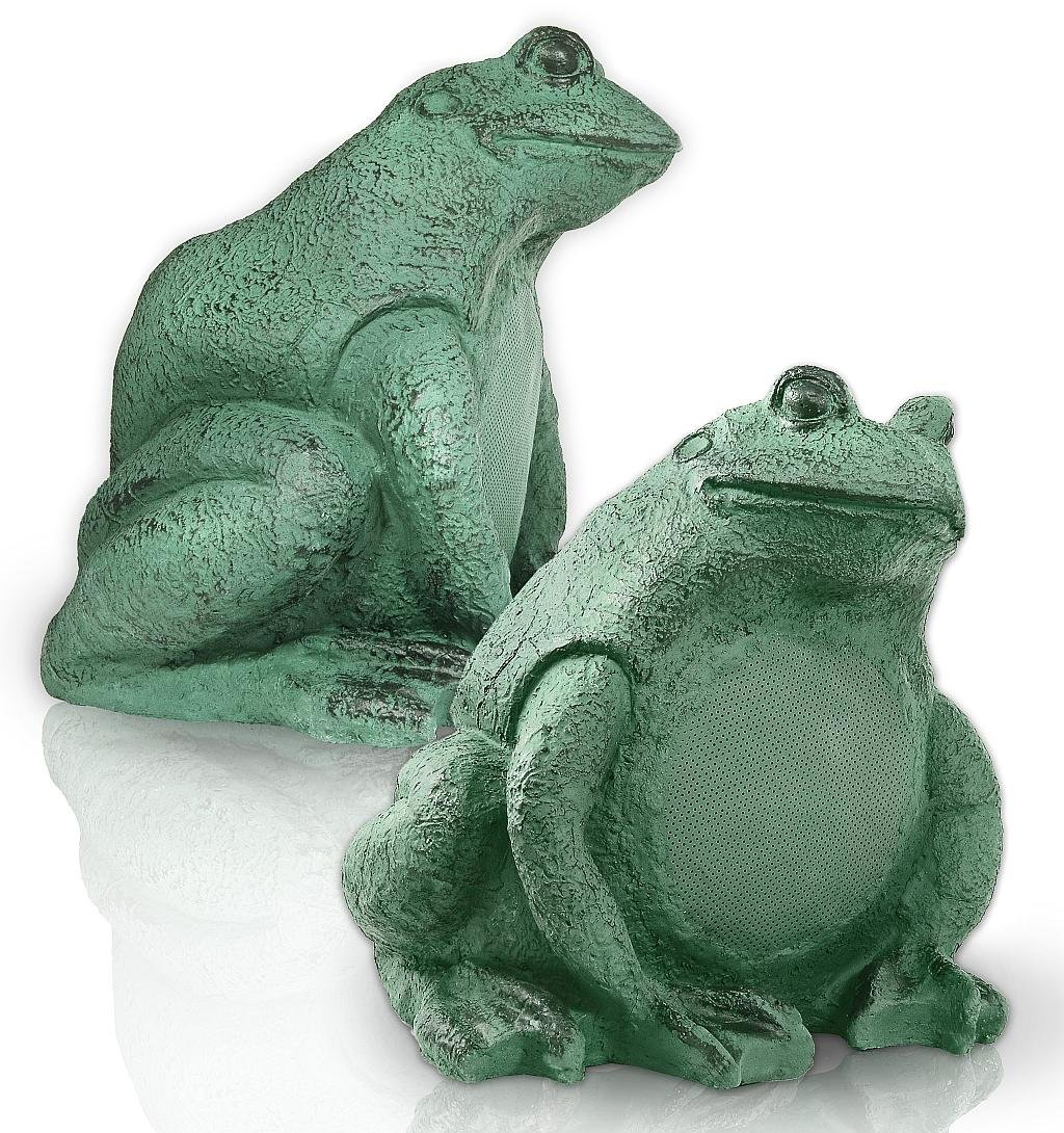 OSD Audio FS525 Outdoor Garden Decorative Frog Speaker, Pair (Green with Bronze Patina)