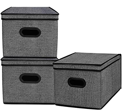 Homyfort Foldable Storage Bins Cube Boxes with Lid, Linen Polyester Basket  Closet Organizer for Home, Bedroom,Clothes, with Double Plastic Handles,Set  ...
