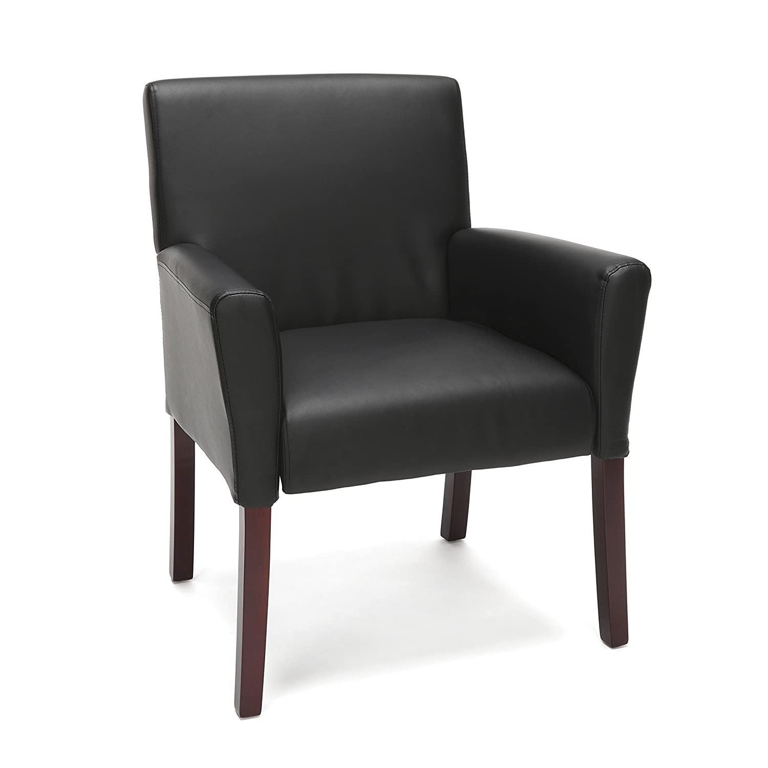 OFM Essentials Collection Bonded Leather Executive Guest Chair with Arms and Wooden Legs, in Black