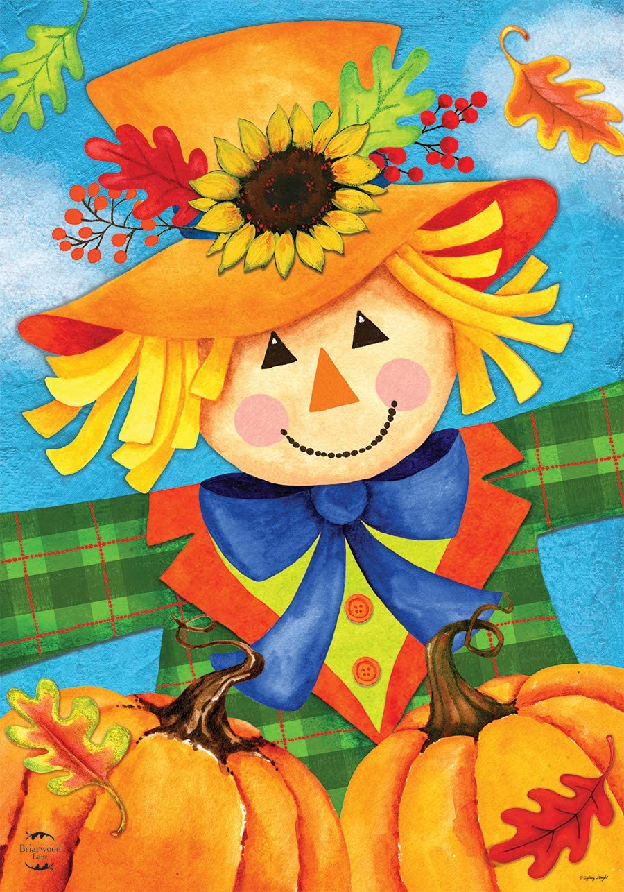 Briarwood Lane Harvest Celebration Scarecrow Fall Garden Flag Pumpkins Autumn 12.5