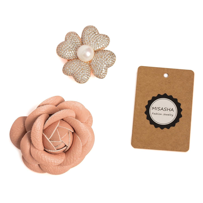 MISASHA Designer Four Petals Flower Brooch Pin For Women