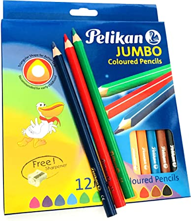 PELIKAN 12 PCS PAINTING ASSORTED COLOR SOFT THIN PENCILS TRIANGULAR NEW BOXED
