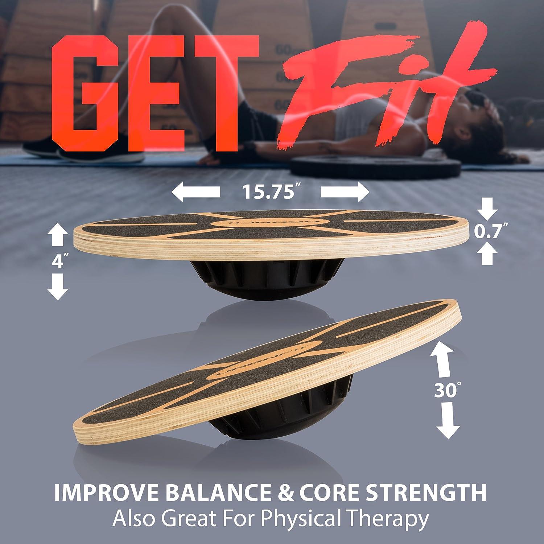 Tabla de Equilibrio - Entrenamiento para el Núcleo Hecho de Madera - Aumenta tu Equilibrio, Fuerza y Flexibilidad: Amazon.es: Deportes y aire libre