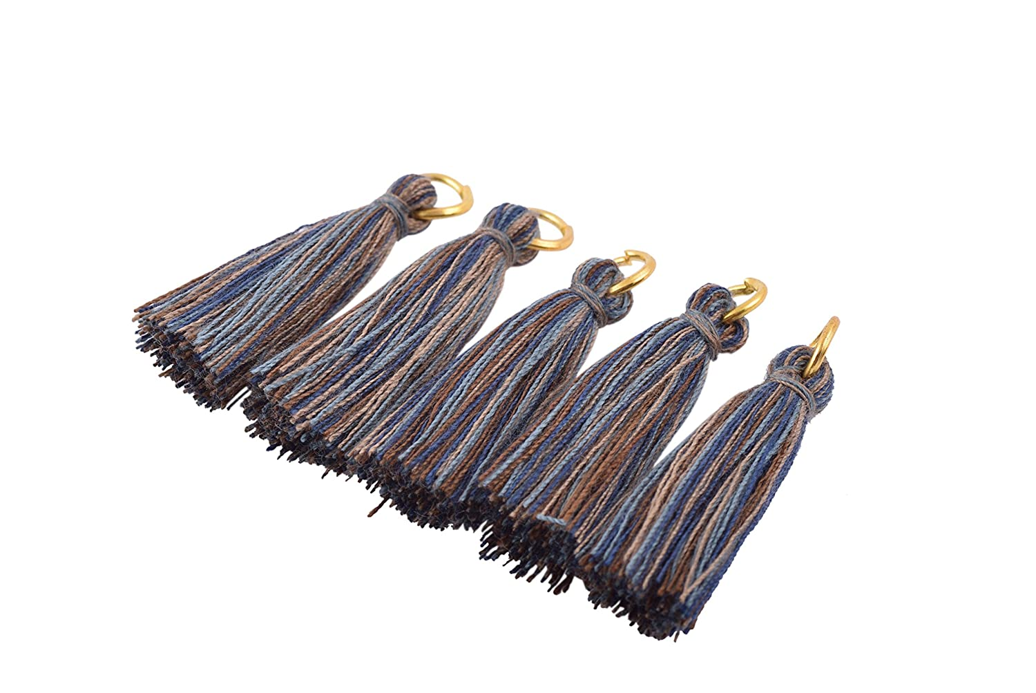 3.5cm KONMAY 50PCS 1.4 Khaki Soft Handmade Silky Tiny Craft Tassels With Golden Jump Ring for DIY Projects