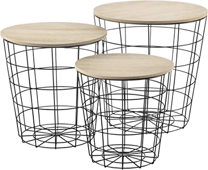 en.casa Rovere Antico Set da 3 Tavolini a Forma di Cestello in 3 Altezze Diverse con Piano Rimovibile Portaoggetti Pratico Multiuso per Salotto//Soggiorno