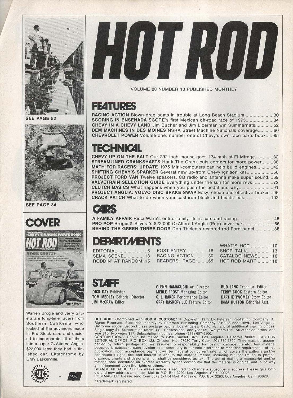HOT ROD Brogie Silvera Grand Anglia Chevy Volvo 10 1975 at
