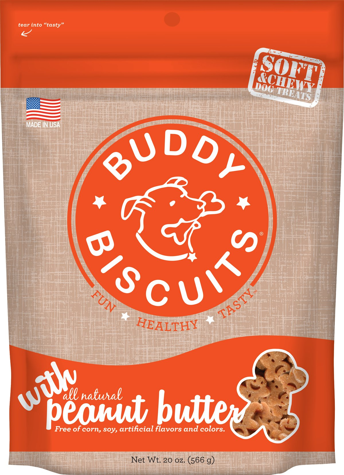 Buddy Biscuits Soft & Chewy Dog Treats with All Natural Peanut Butter 20 oz