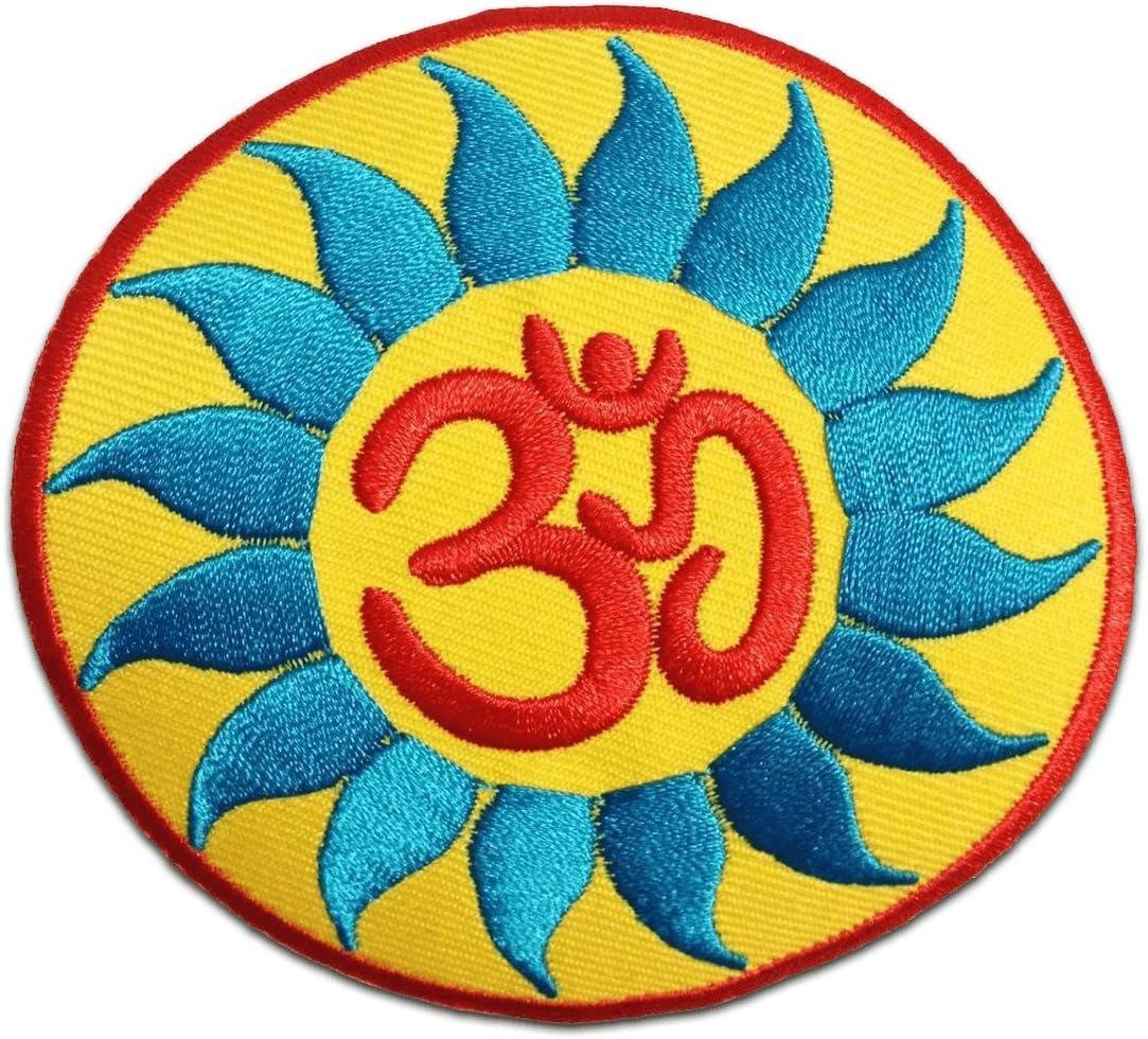 orange Aufnäher // Bügelbild Om Symbol spirituell Hindu Meditation Ø8,4 cm