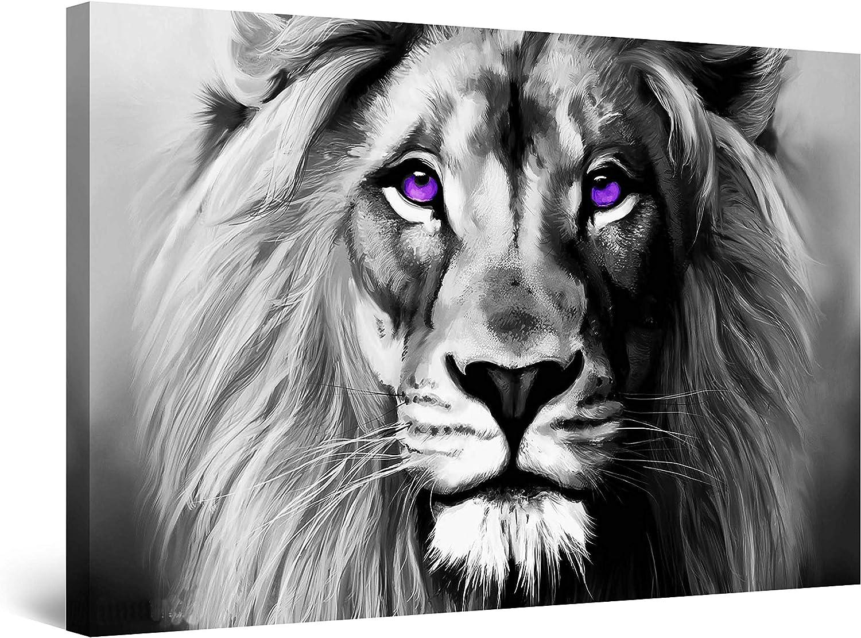 Startonight Cuadro sobre Lienzo en Blanco y Negro Rey de las Bestias, Impresion en Calidad Fotografica Enmarcado y Listo Para Colgar Diseño Moderno Decoración Formato Grande 80 x 120 CM