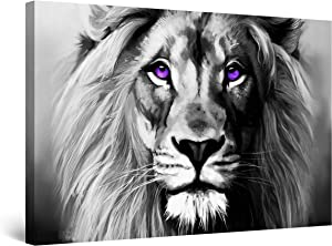 """Startonight Canvas Wall Art Black and White Abstract Lion Serenity Animal Ruler, Framed Quantic Home Decor for Bedroom 24"""" x 36"""""""