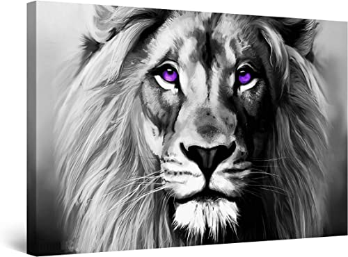 Startonight Canvas Wall Art Black and White Abstract Lion Serenity Animal Ruler