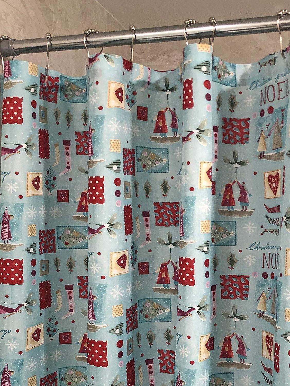 Christmas Shower Curtain Noel Seasons Greetings Fabric Bathroom Winter Holiday Shower Curtain Christmas Noel Home Kitchen Amazon Com