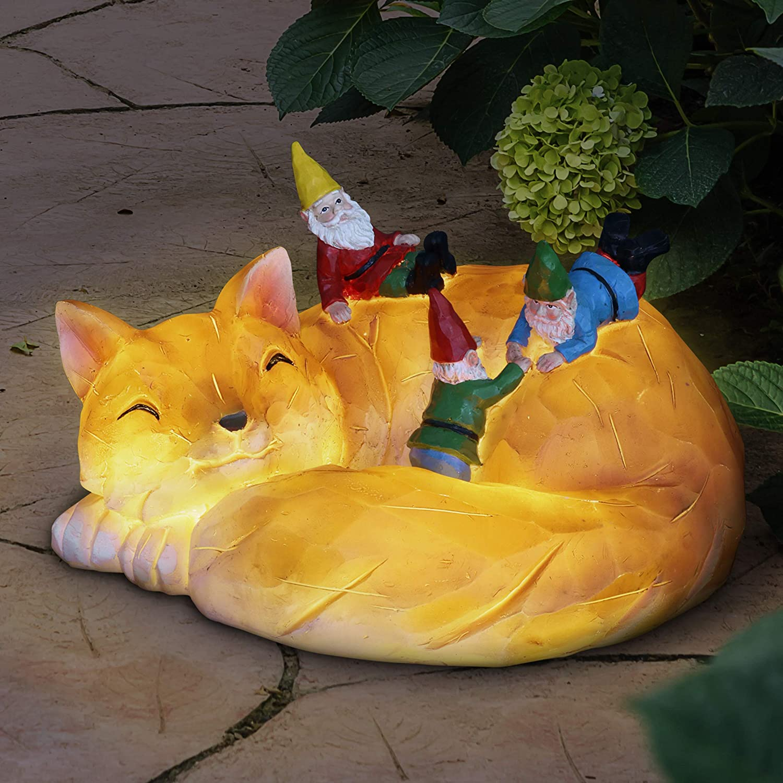 Exhart Solar Fox & Gnomes Funny Garden Statue w/Solar LED Light | Gnomes Escape A Sleeping Fox | Cute Outdoor Art for Patio or Garden, UV Treated & Weather Resistant Gnome | 10