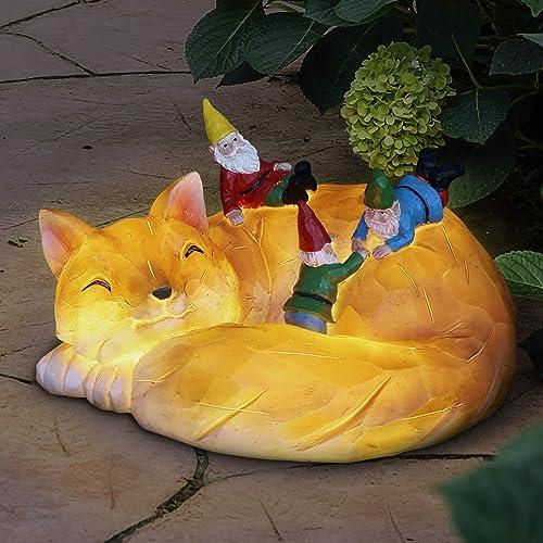 Exhart Solar Fox Gnomes Funny Garden Statue w/Solar LED Light   Gnomes Escape A Sleeping Fox   Cute Outdoor Art