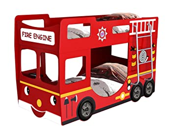 Haani Furnishings 1 X Fire Engine Bunk Bed Wood Red Single