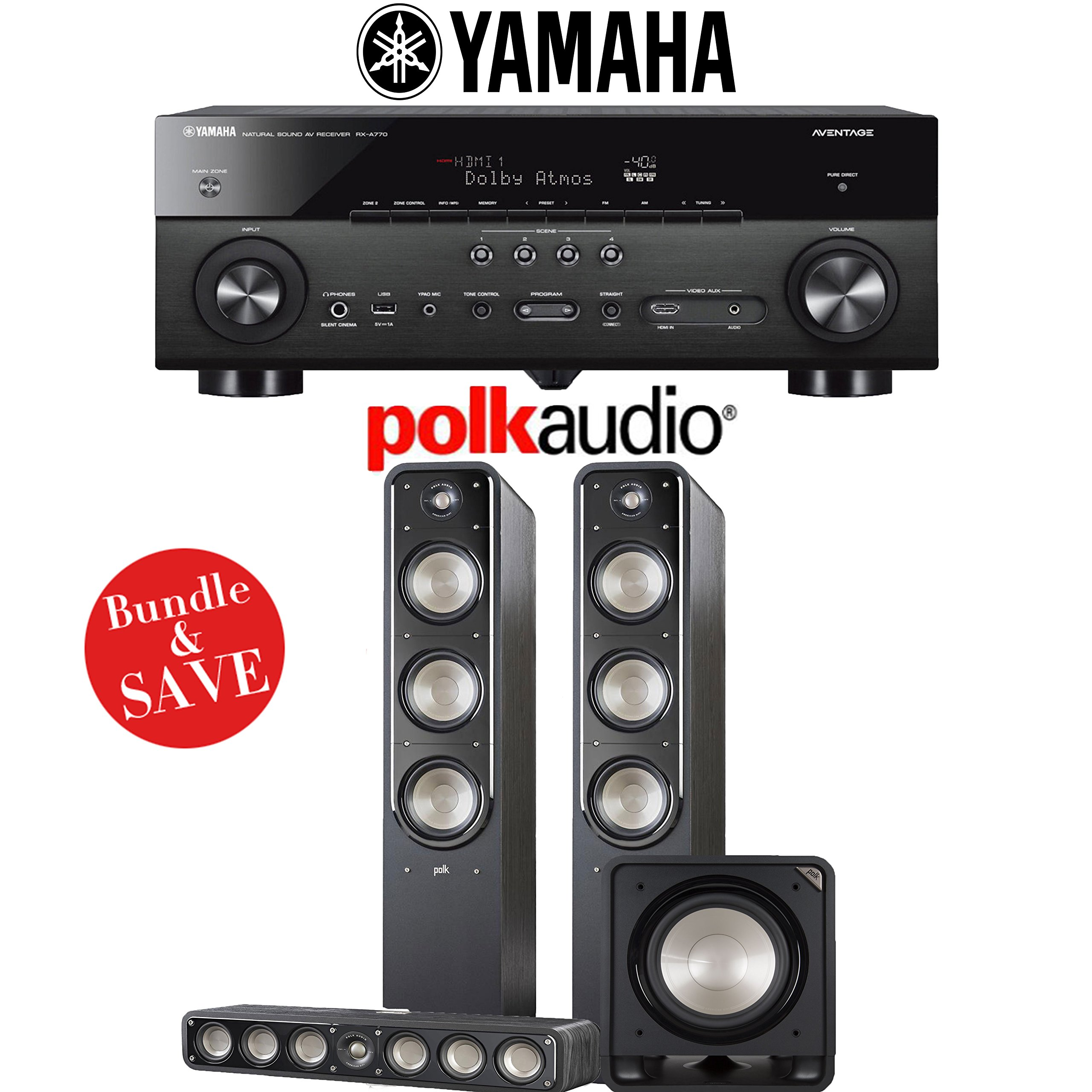 Yamaha AVENTAGE RX-A770BL 7.2-Ch 4K Network AV Receiver + Polk Audio S60 + Polk Audio S35 +Polk Audio HTS12 - 3.1-Ch Home Theater Package by Polk Audio