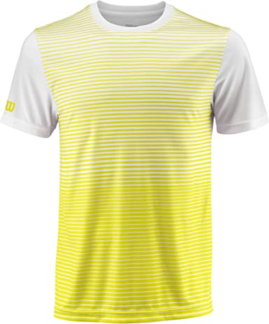 Wilson Camiseta deportiva de hombre, M Team Striped Crew, Poliéster