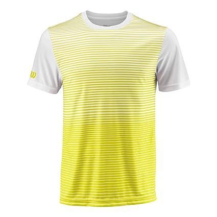 M Team Striped Crew Polyester Wilson Herren Tennis-Kurzarmshirt